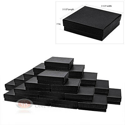 25 Black Swirl Cotton Filled Jewelry Gift Boxes Bracelet Pendant 3 12 X 3 12