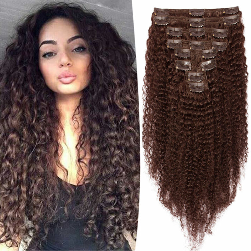 Thick Afro Kinky Curly Clip In 100 Real Remy Human Hair Extensions Full Head Uk Ebay