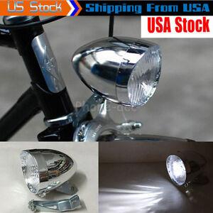 3 LED Vintage Bicycle Bike Lamp Headlight Accessory Retro Front Light W/ Bracket