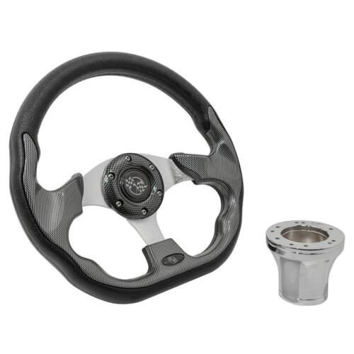 Yamaha G2 thru G29 Golf Cart Carbon Fiber 12.5 Steering Wheel & Chrome Adapter