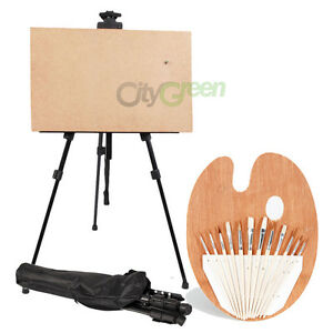 Art-Tools-Iron-Folding-Easel-with-Carry-Bag-Artist-Brush-Set-with-Palette