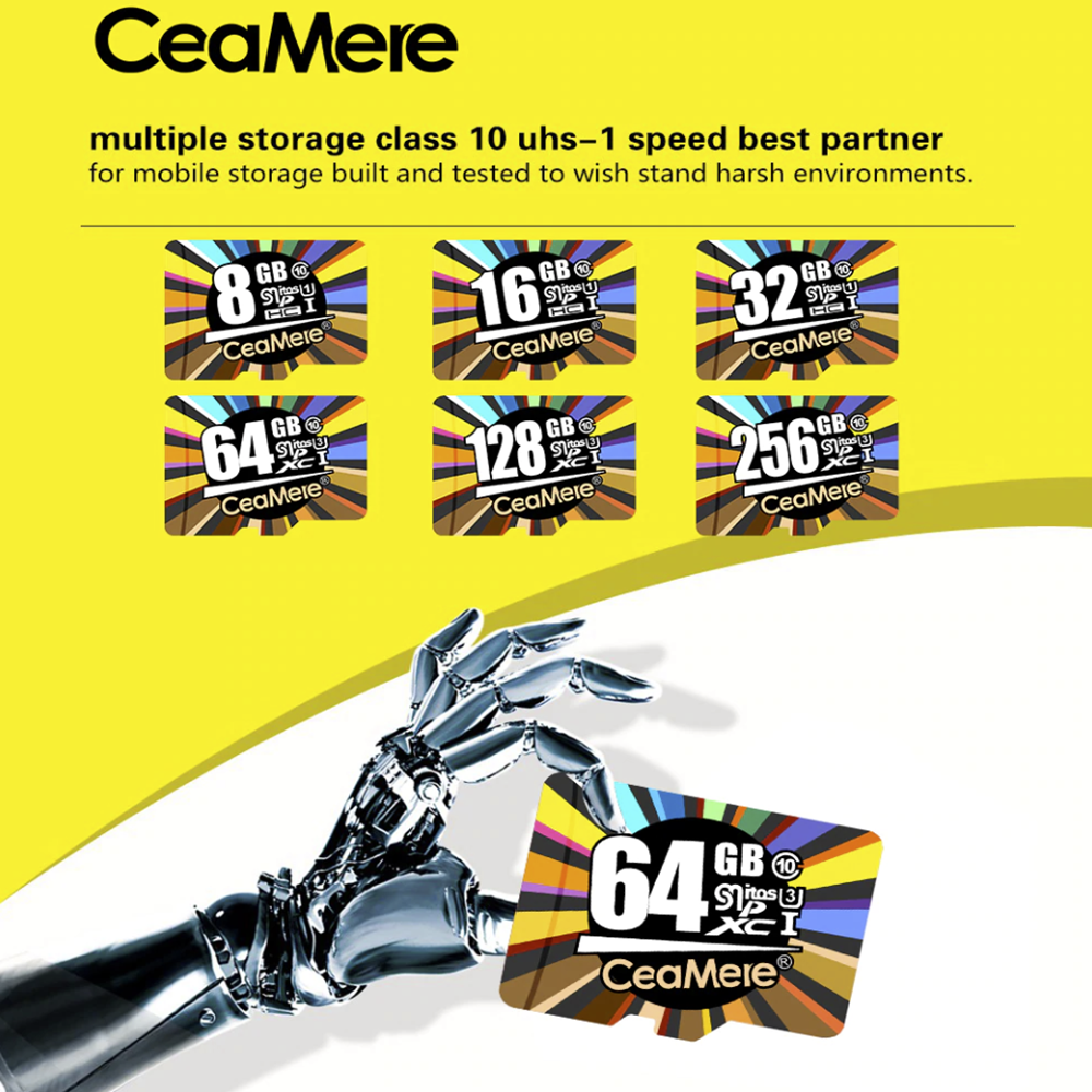 Ceamere 16GB 32GB 64GB Micro SD HC Class 10 TF Flash SDHC Me