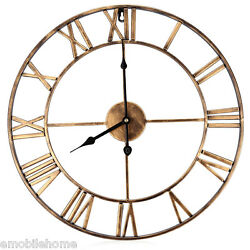 1x New 18.5 Oversized 3D Iron Decorative Wall Clock Retro Roman Numerals Design