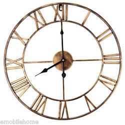 18.5 Inch Oversized 3D Iron Decorative Wall Clock Retro Roman Numerals Design