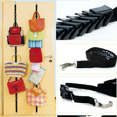 8 Hooks Over Door Wall Storage Organizer Hat Bag Clothes Straps Hanger Rack New](Bag Rack)
