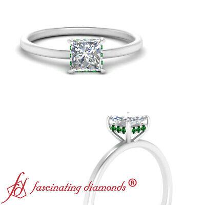 3/4 Carat Princess Cut Diamond And Emerald Gemstone Hidden Halo Engagement Ring