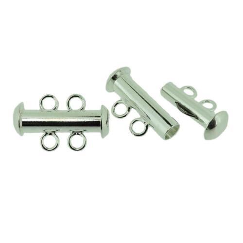 Beadsmith Multi-Strand Clasps, Slide Lock, 16mm 2-Hole 3 Sets, Silver FNSL1675