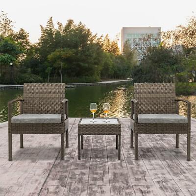 Garden Furniture - Conversation Set Wicker Rattan Furniture Patio Outdoor Garden Cushioned 3 Pieces