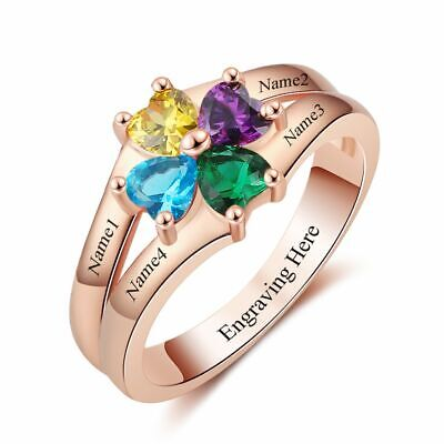 Kids Birthstone Rings (Mothers Ring Birthstone Rose Gold Engraved 4 Stones Personalized Family)