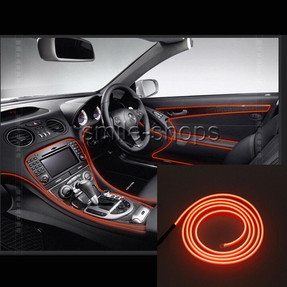 Details About 3m Orange Car Led Interior Trim Ambient Cold Light Decor Atmosphere Strip Lamp