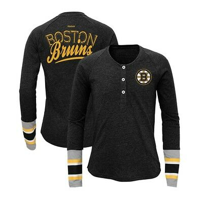 Boston Bruins NHL Reebok Youth Black Jersey Striped Henley Long Sleeve T-Shirt