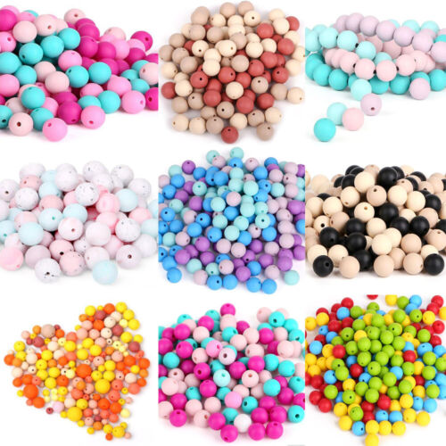FDA Proof  Silicone Teething Beads DIY Baby Chew Teether Necklace Jewelry Toys