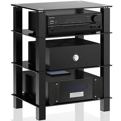 4 Tier Black Glass Component Media Stand Audio Video Tower Rack AV Home Theater