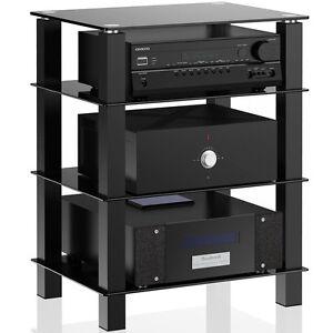 Glass Media Component TV Stand Audio Stereo Hi Fi AV Entertainment Cabinet  Rack