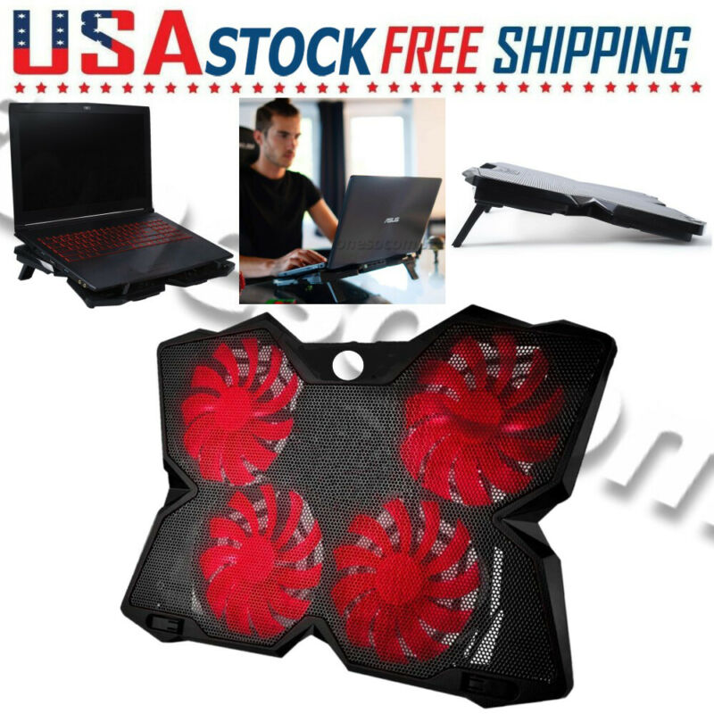 4-Fan Laptop Cooler Cooling Pad Dual USB For Gaming E-Sport LED Notebook Coolpad