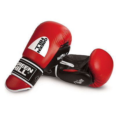 Greenhill Red Leather Boxing Gloves Fight,Punch Bag MMA Muay thai Grappling Pad