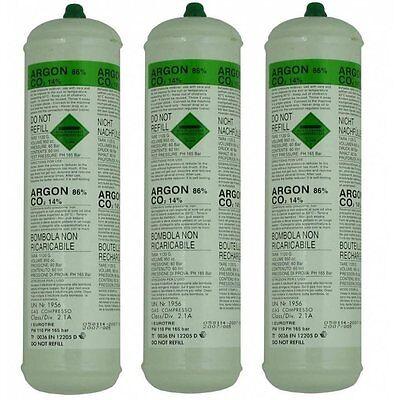 3 X Argon CO2 Disposable Welder Gas Bottle 60 L Litre For Gas Gasless Mig