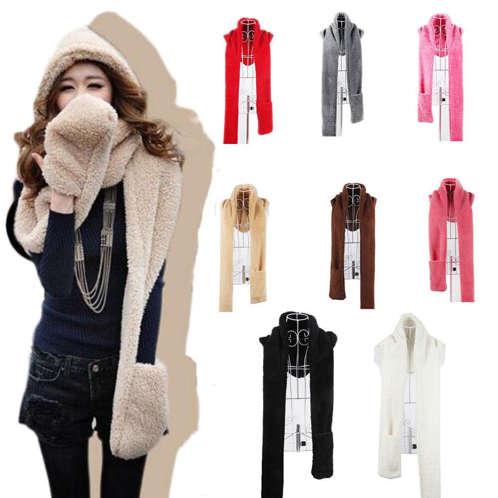 Scarf - 3 in 1 Women Hooded Scarf Gloves Hat Set Warm Soft Plush Chic Series Shawl Cap