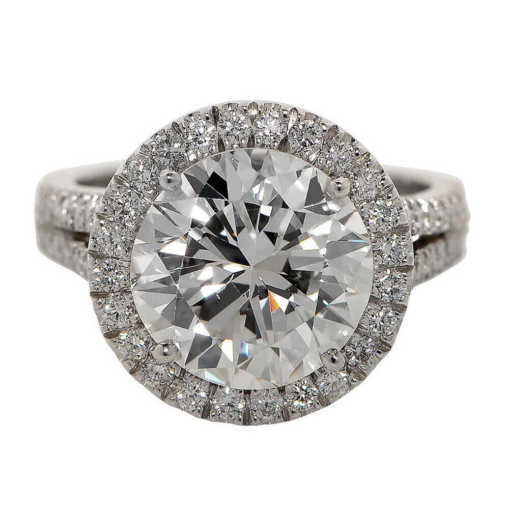 Halo Split shank GIA Certified Round Cut Diamond Engagement Ring 2.46 CTW 18K