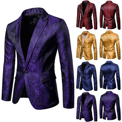 Fashion Mens Jacquard Suit Coat Casual Slim Formal One Button Blazer Jacket -
