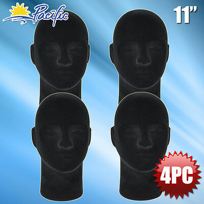 New Male Styrofoam Foam Black Mannequin Head Display Wig Hat Glasses 4pc