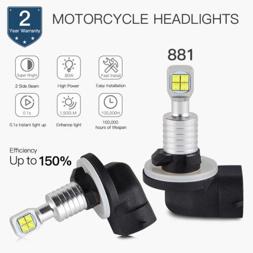 881 LED HeadLight Bulb For Motor Cree LENS Driving Light DRL 80W 360° Light Beam