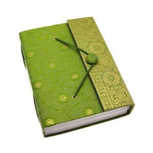 Commercio-Equo-Solidale-Fatto-A-Mano-Verde-Grande-Sari-Journal-Notebook