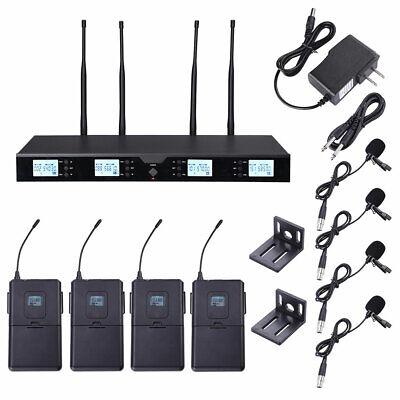 4 Channel Pro Condenser Headset Lavalier Lapel UHF Wireless