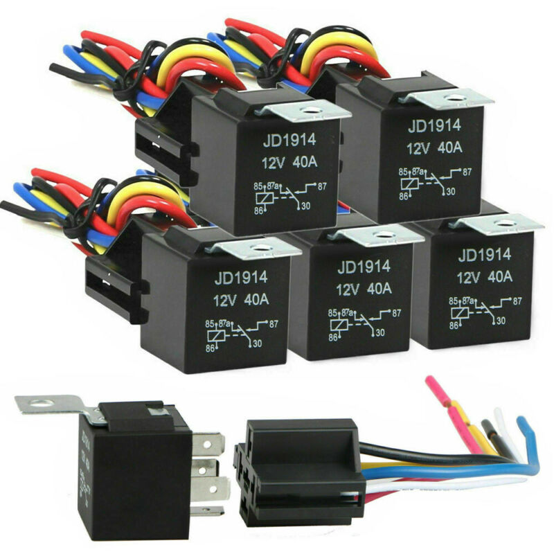 5 Pack 12V 30/40A Amp 5-Pin SPDT Automotive Relay with Wires Harness Socket Set