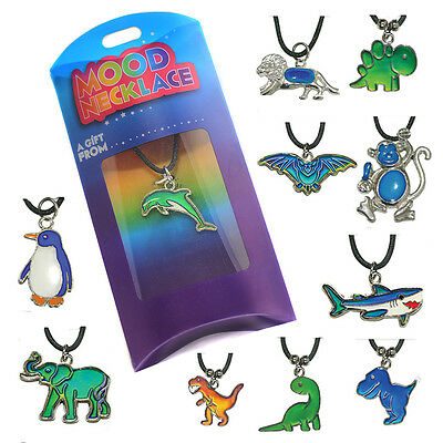 Thermochromic Colour-changing Animal Mood Necklace Pendant Charm, Leather, chart](Mood Necklace Color Chart)