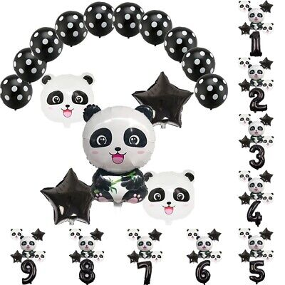 15pc Black Latex Balloon Set Panda Foil Balloon Kids Birthday Party Decoration - Black Party Decor