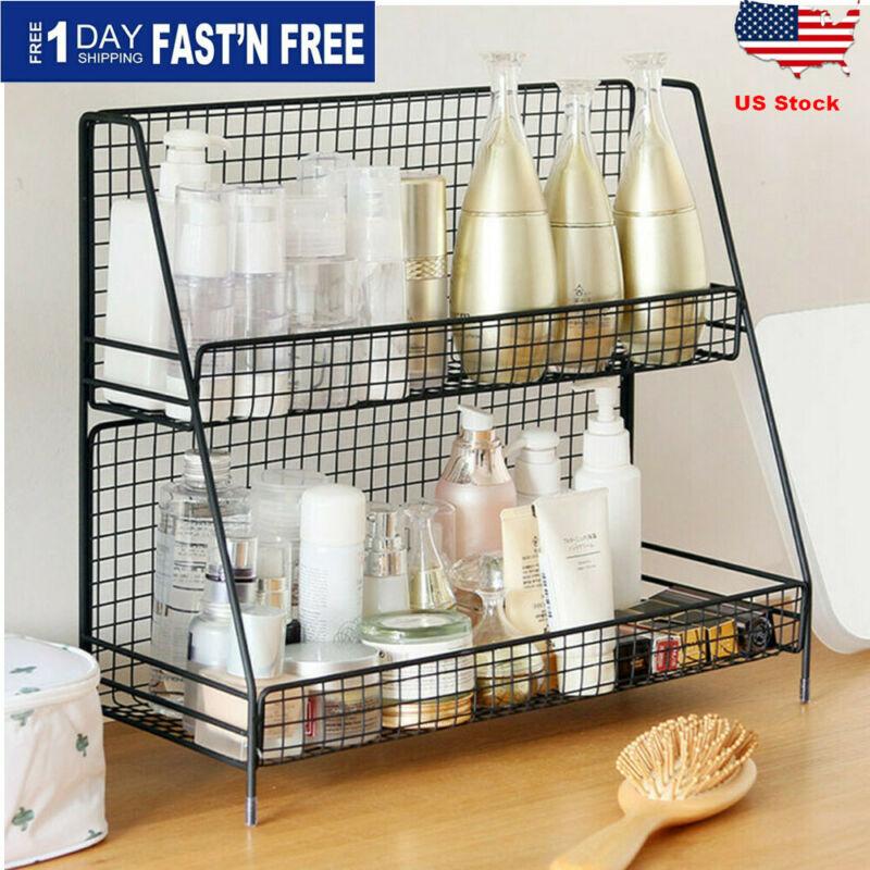2Tiers Bathroom Kitchen Bedroom Countertop Shelf Corner Stor