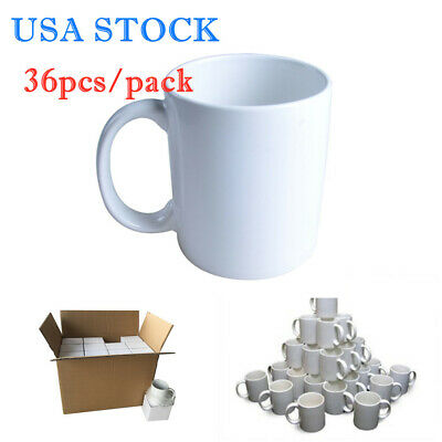Usa 36pcs Blank White Mugs A Grade 11oz Sublimation Coated Mugs For Heat Press