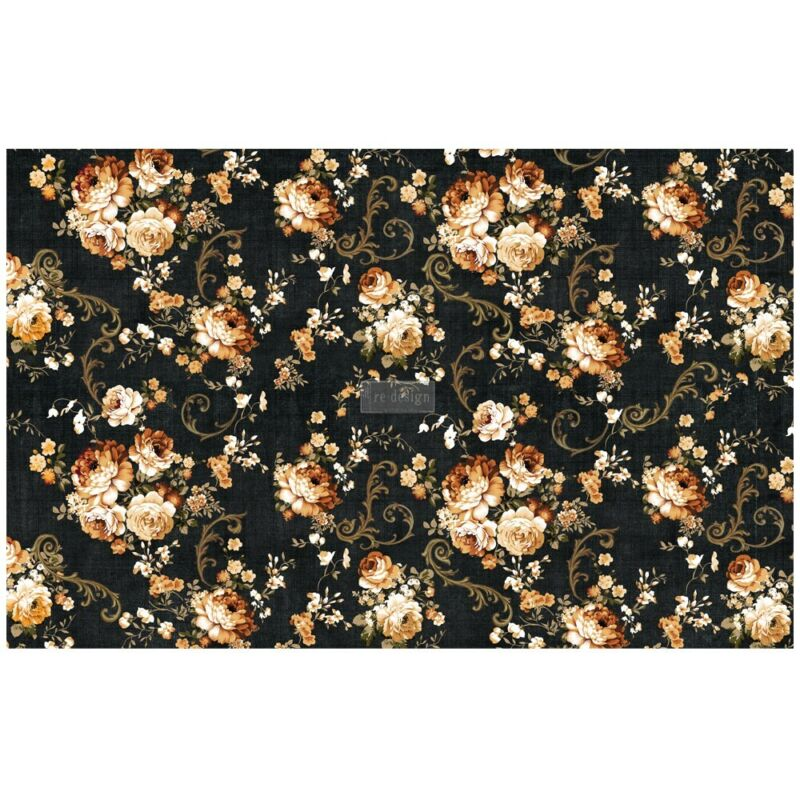 Dark Floral Decoupage Decor paper by redesign with Prima!