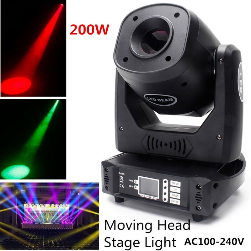 U`King 200W LED Stage Lighting Beam Pattern Moving Head Lamp DMX DJ Disco Party