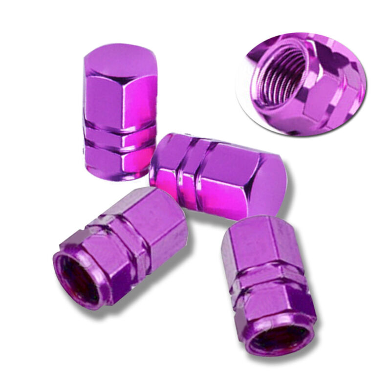 HITTIME 10Pcs Car Truck Bike Tyre Air Valve Caps Tire Wheel Rims Stem Tyre Cover Aluminum Purple