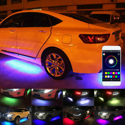 4x RGB LED Under Car Tube Strip Underglow UnderBody Neon Light Kit App Control