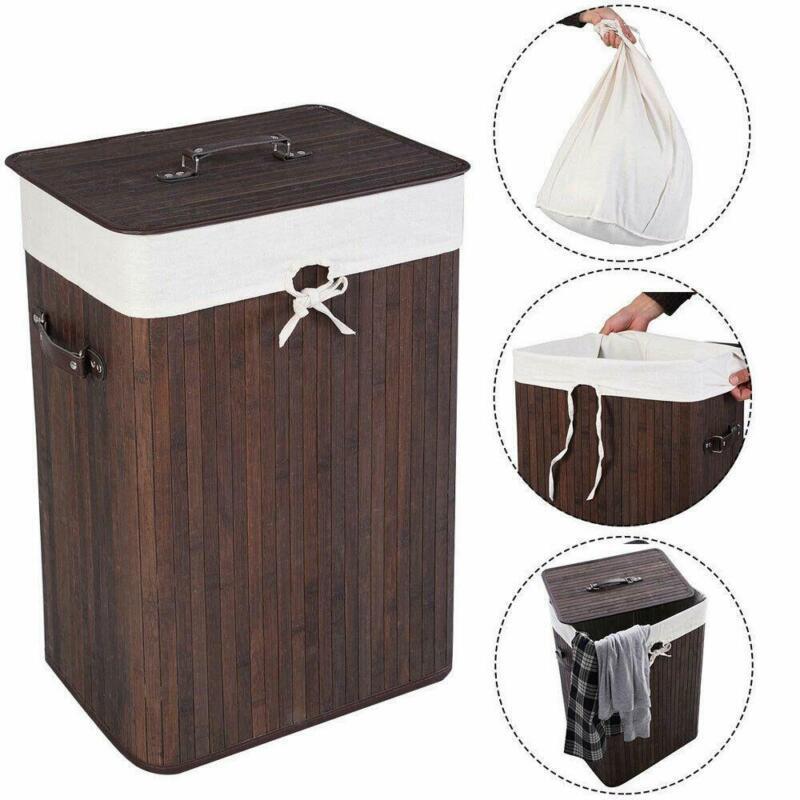 Rectangle Bamboo Hamper Laundry Basket Washing Cloth Bathroom Lid Durable Box