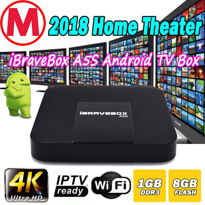 IPTV A5S Quad Core Android 7.1 Streaming TV Box HDMI Media Player 4K HD WIFI UK