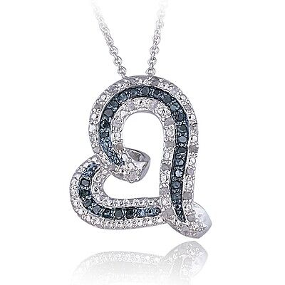 Diamond Floating Heart Necklace (0.50ct TDW Blue or Black & White Diamond Floating Heart)
