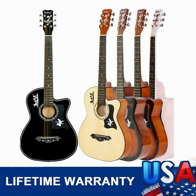 """38"""" Acoustic Classic Guitar For Beginners Adults 6 Strings LCD Tuner Pickguard"""