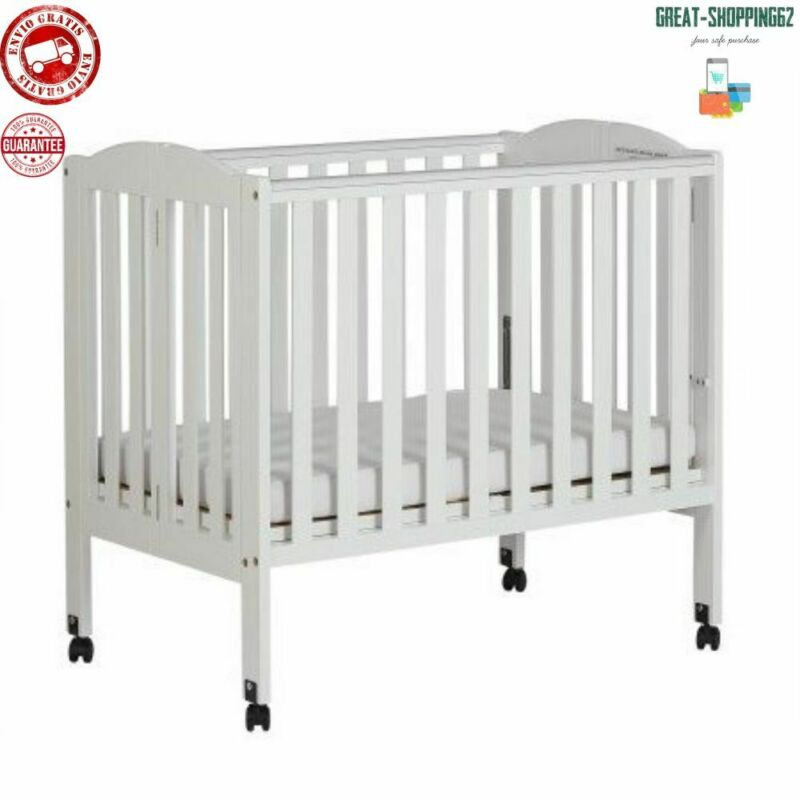 Cuna Convertible Para Bebe Marco De Madera Portátil Plegable 2 En 1 Color Blanco