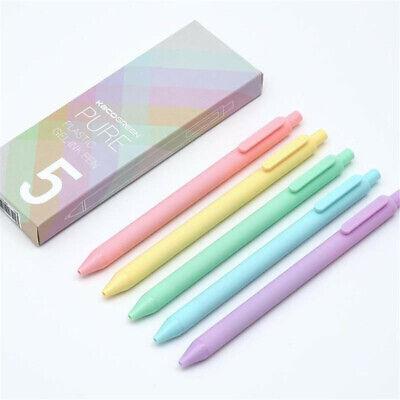 5pcs Gel Pens Cute Macaron Color Gel Pen 0.5mm Black Ink Signature Pens Kids