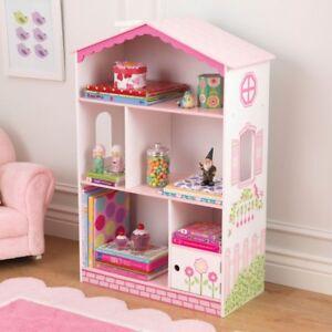 KidKraft Dollhouse Cottage Bookcase - 14604, White/Pink