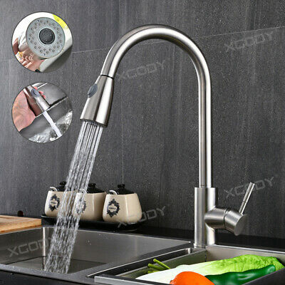 Chrome Kitchen Faucet Pull Out Sprayer Single Hole Swivel Sink Mixer Tap