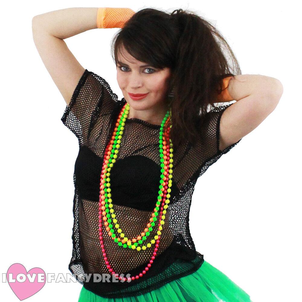 Mens  80s Pride Festival punk rockerBlack Fishnet Shirt Fancy Dress
