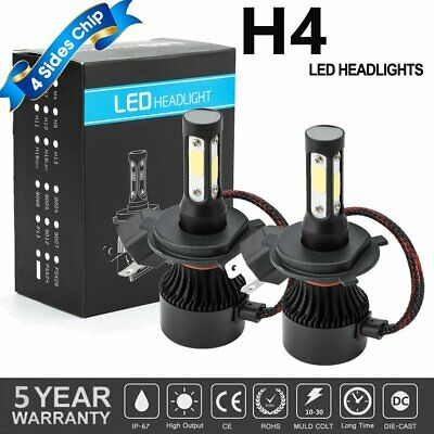 4-Sides CREE H4 LED Headlight Kit Bulbs Hi/Lo Beam 6500K 9003 HB2 2500W 375000LM