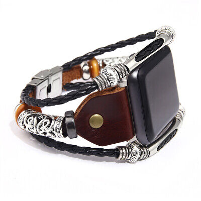 HOT Genuine Leather Watch Band for iWatch Series 4/3 Bead Braided Bracelet Strap Braided Leather Strap Watch