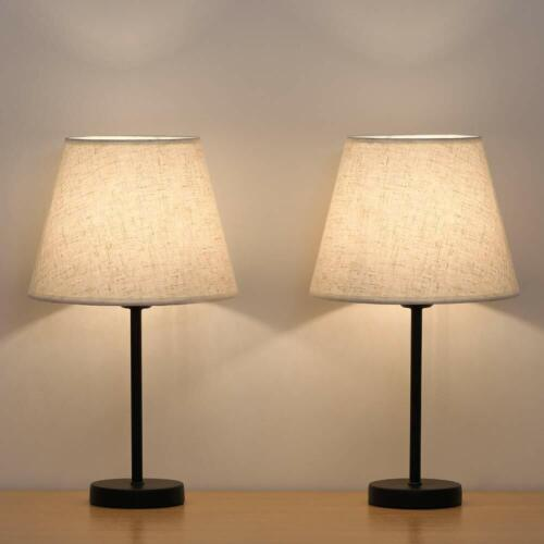 Nightstand Lamps Set of 2 with Fabric Shade Bedside Desk Lam