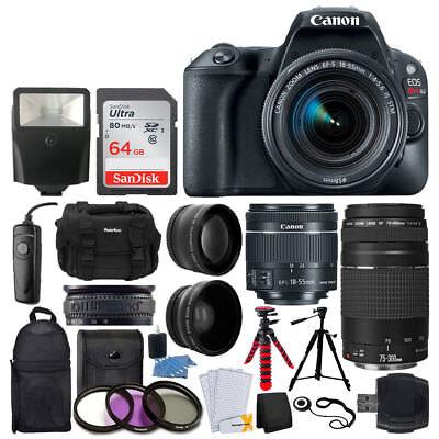 Canon EOS Rebel SL2 Camera + 18-55mm & 75-300mm Lens + 64GB Card + Double Tripod